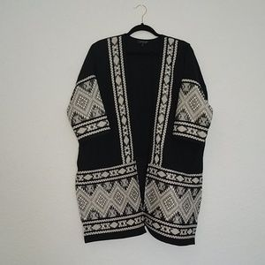 Topshop black and white cardigan